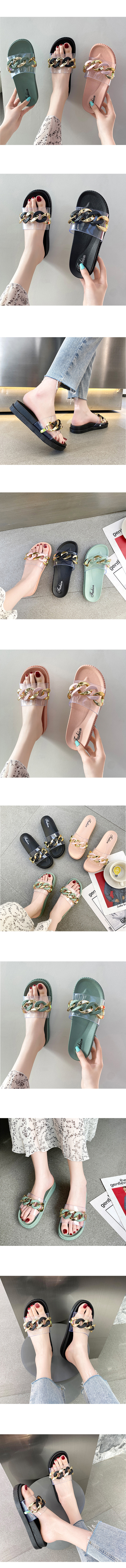 1+1 Bold Chain Transparent Soft Slippers