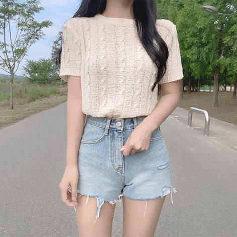 Tiru Twisted Short Sleeve Knitwear 針織衫