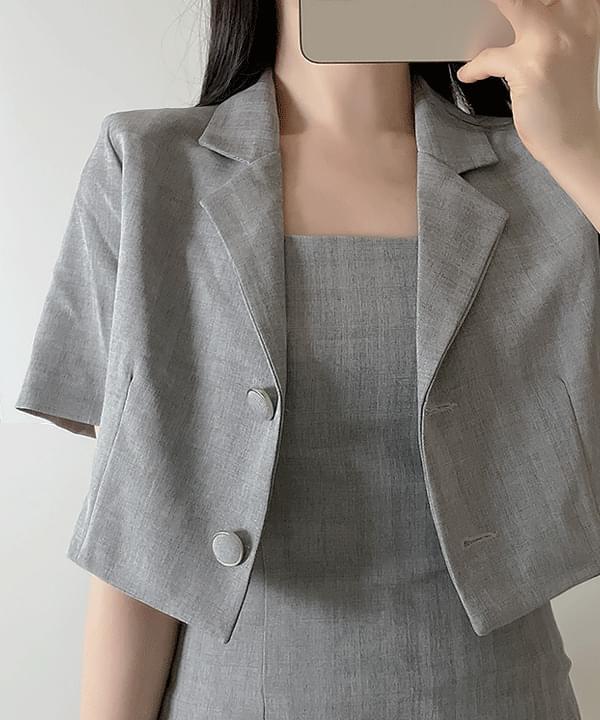 Is Crop Check Collar Jacket 2color