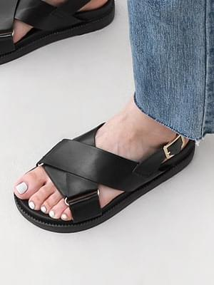Wide strap side buckle decoration whole-heel sandals 11024 ♡Second sold out♡