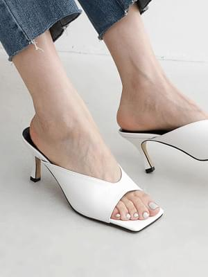 Square outsole V cut mule heel sandal 5366 ♡ 1st sold out♡