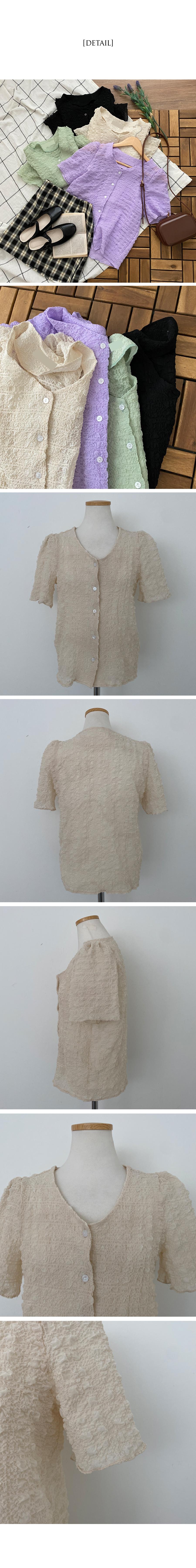 Mongeulmongle pleated short-sleeved blouse