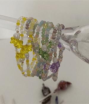 Transparent Beads Flower Fruit Pippi Bracelet 7 Types