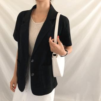 Loose-fit, linen short sleeve jacket