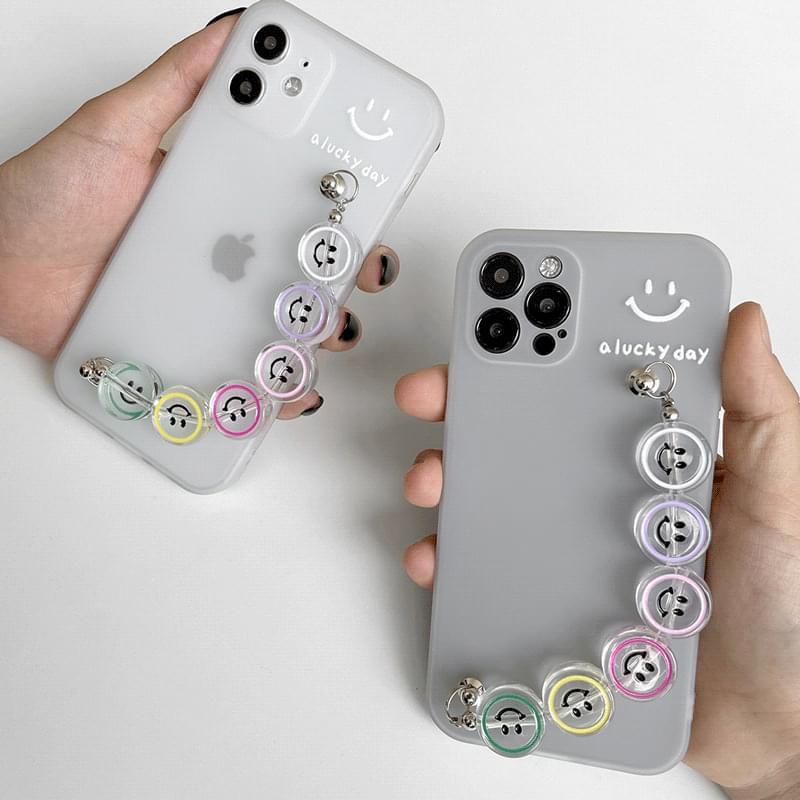 Transparent Bead Smile Strap iPhone Case