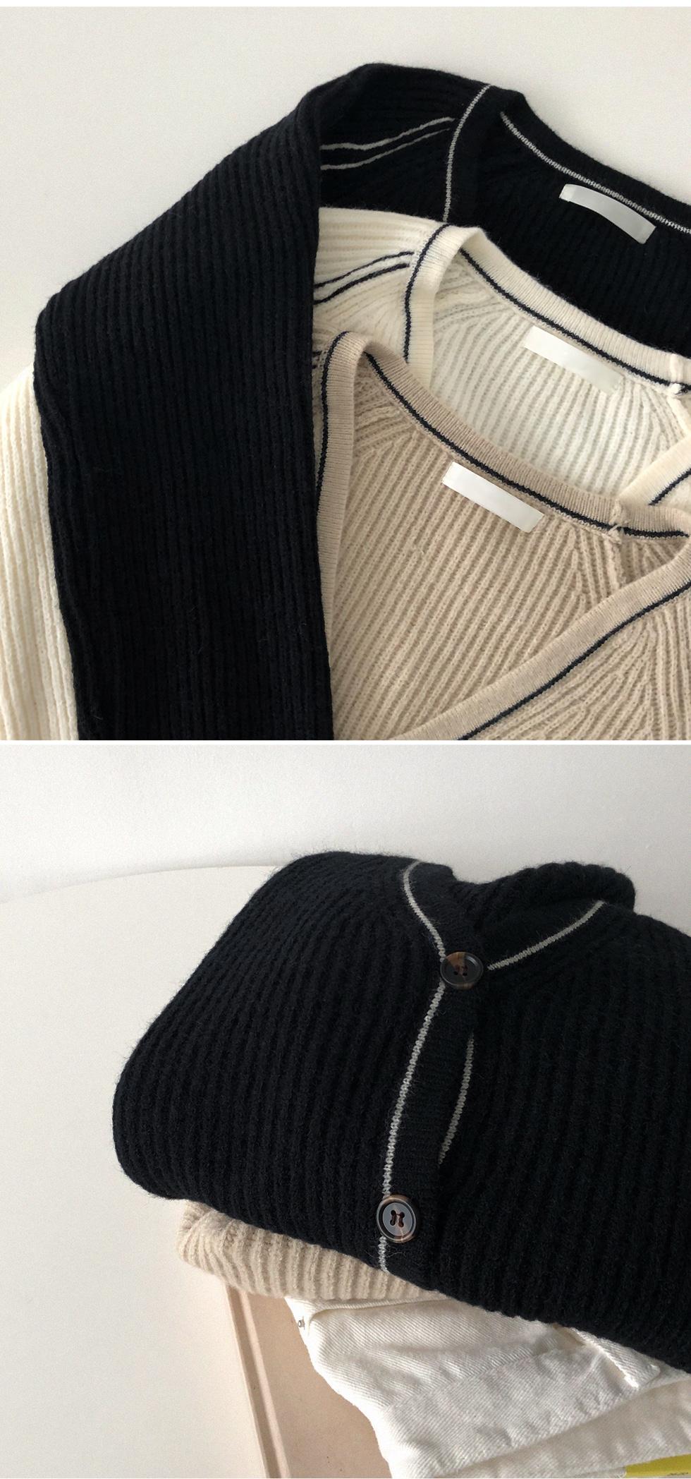 配色線條混羊毛針織外套