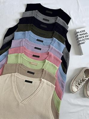Waffle V-Neck Fit Knitwear Vest