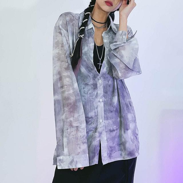 tie-dye see-through shirt
