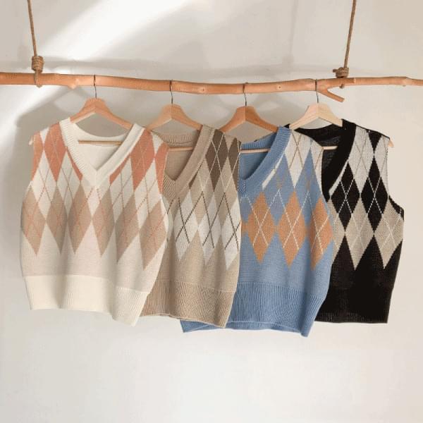 Warm Tone, Argyle Knitwear Vest