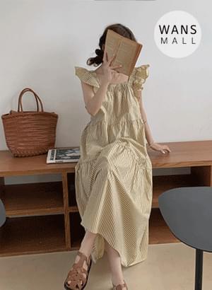 op5135 Spie Stripe Sleeveless Long Dress