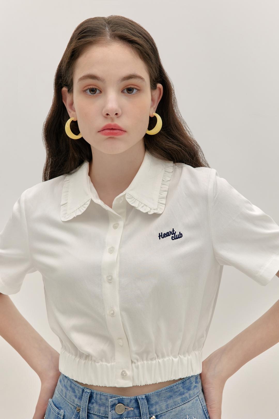 HEART CLUBWhite Elastic Hem Crop Shirt