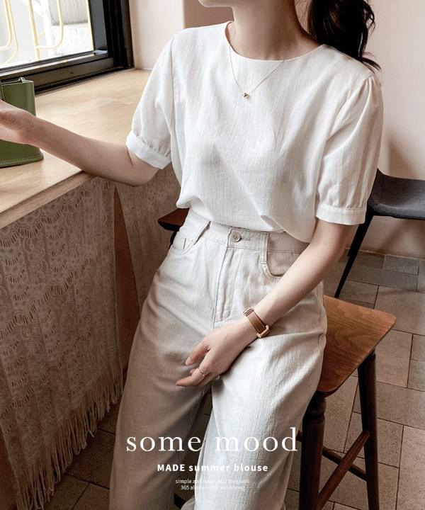 Summer Linen Half Blouse *