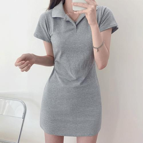 1+1 Daily Color Open Collar Dress T#YW788