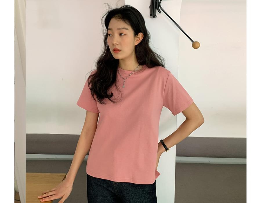 Mini Slit Cotton Short-sleeved T-shirt
