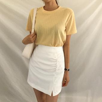 10 color vertical Ribbed short sleeve tee