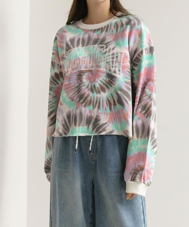 Tie die Michigan lettering cropping Sweatshirt big size 66-99