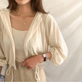 Puff sleeve, basic sleeveless + hooded cardigan set