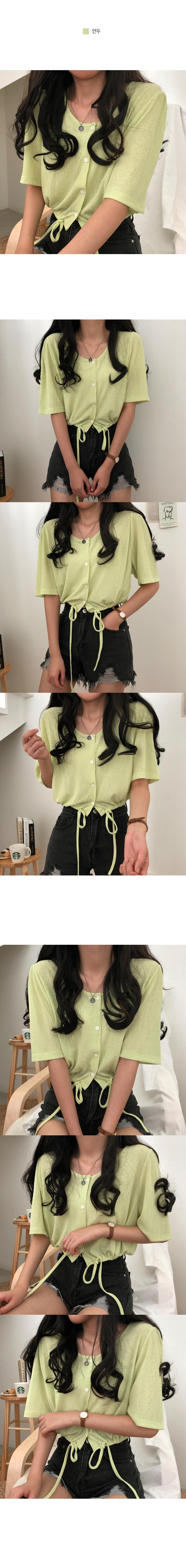 1 gram cool hem string short sleeve cardigan