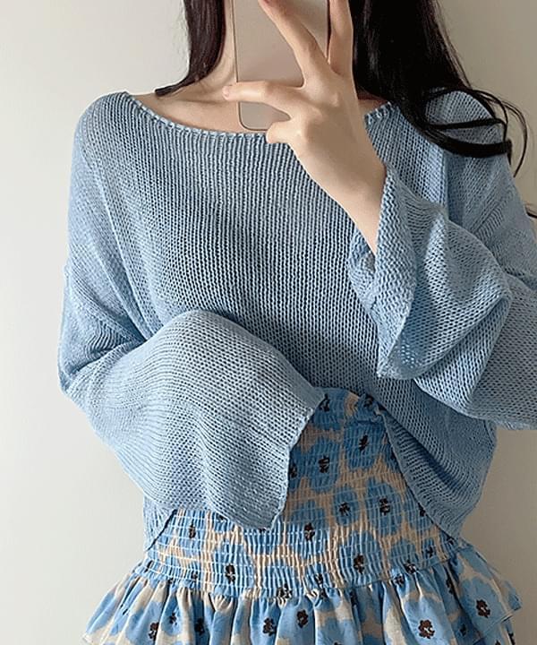 Twi Crop Knitwear + Smoke Skirt Pants 2color