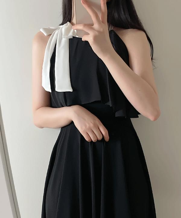 Netty color matching ribbon halter Dress 2color