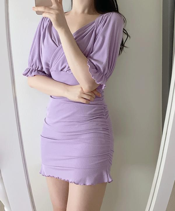 Likey Wrap Shirring Dress 3color
