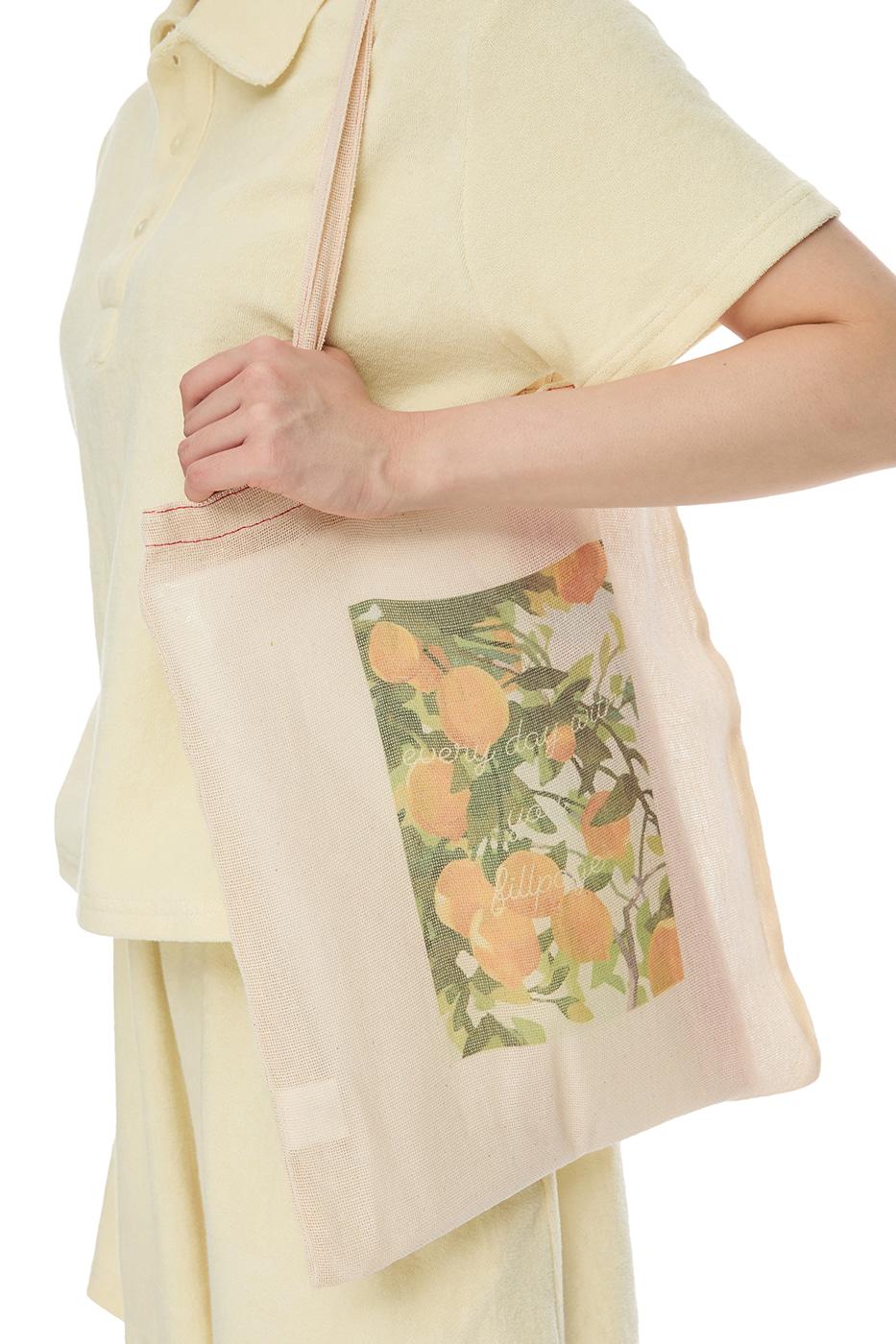 Lemon-print mesh shoulder bag