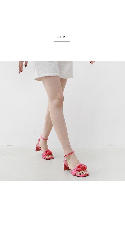 Big Chain Ankle Strap Straight Heel Sandals 11010