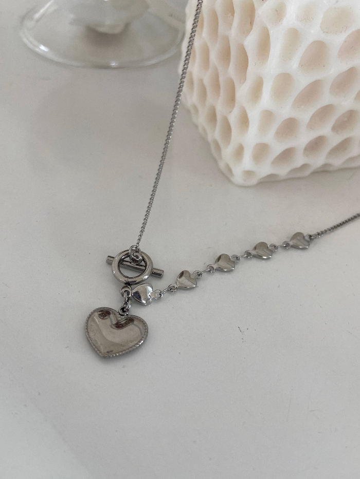 Heart Surgical Toggle Bar Necklace