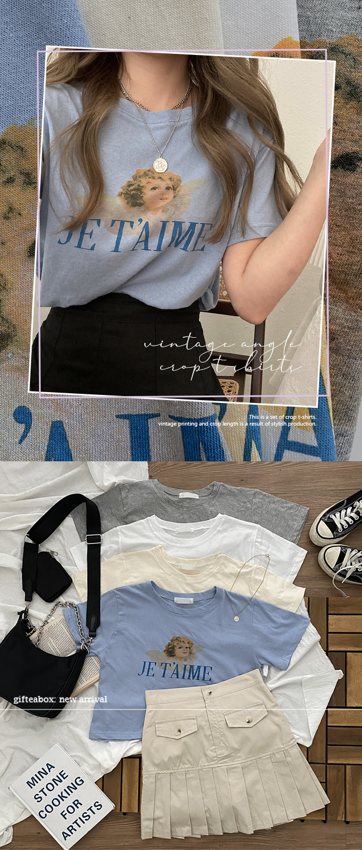 JUNEME angel print cropped short sleeve T-shirt