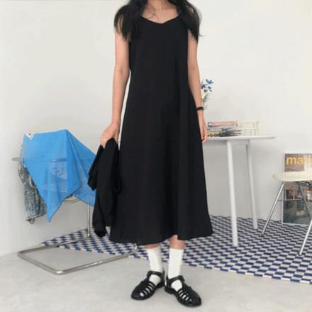 linen string long Dress