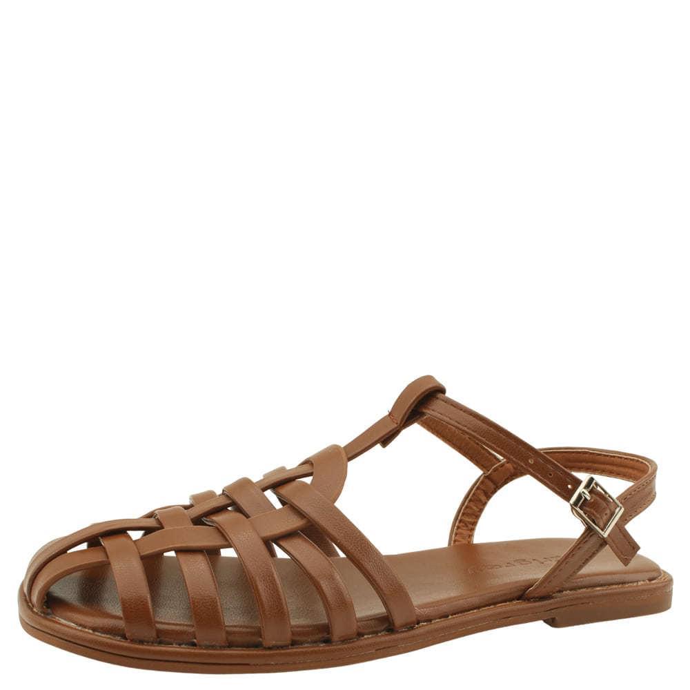 slim twist strap flat sandals brown