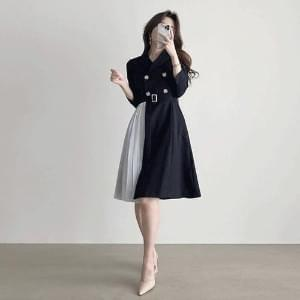 collar jacket color pleated Dress 2color