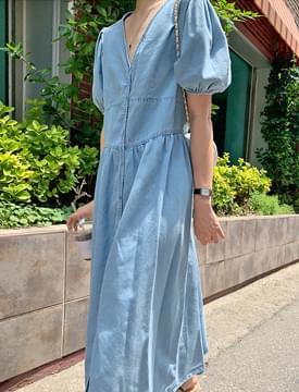 mini button puff denim long Dress