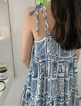 Ethnic ruffle slip mini Dress