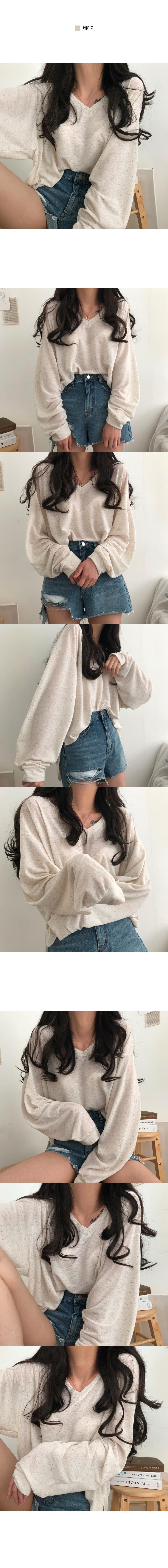 Brill Linen V-Neck Slab T-Shirt