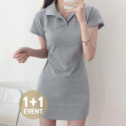 Daily Color Open Collar Dress T#YW788