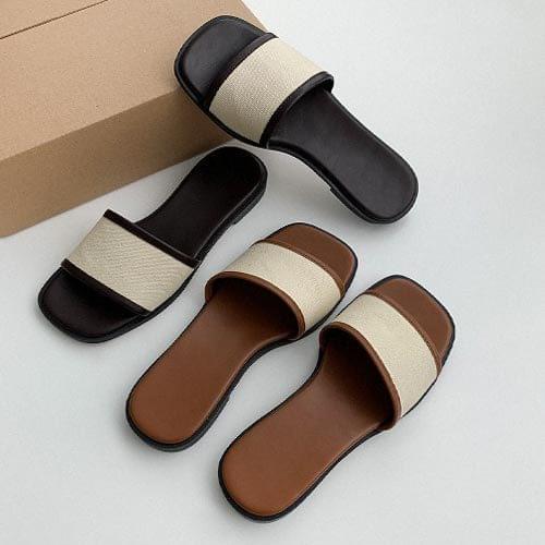韓國空運 - 寬版條帶仿皮平底拖鞋 涼鞋