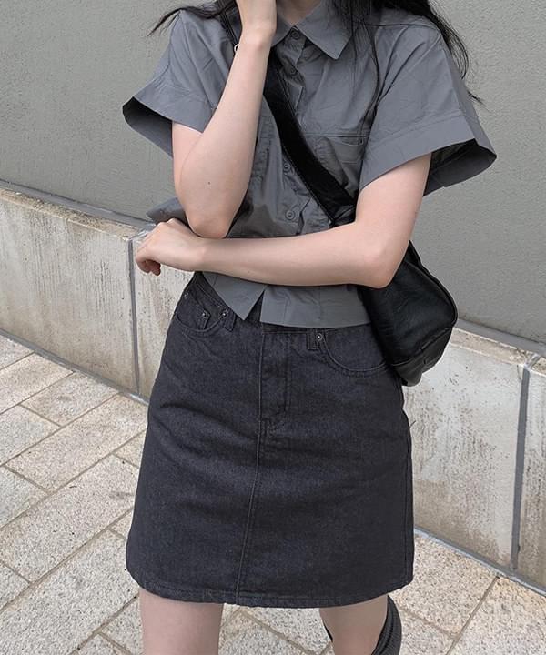 more black and Black Denim skirt