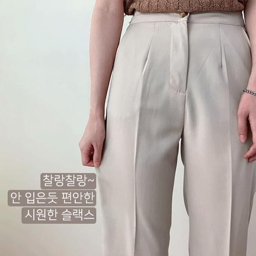 Pintuck Standard Semi-Wide Straight Slacks Pants P#YW647