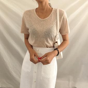 Perfect fit, U-neck linen short sleeve tee