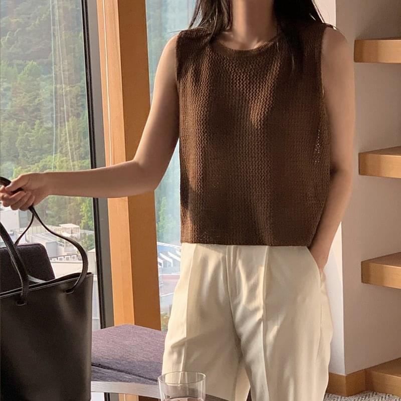 Ghent Semi Crop Sleeveless Knitwear - 4 color