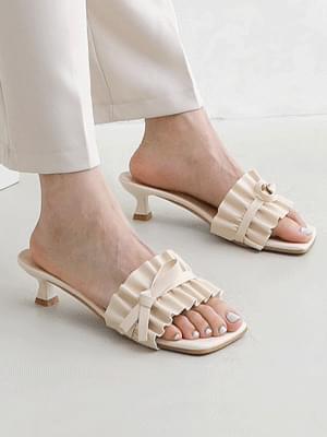 Shirring Ruffle Ribbon Mule Heel Sandals 11027