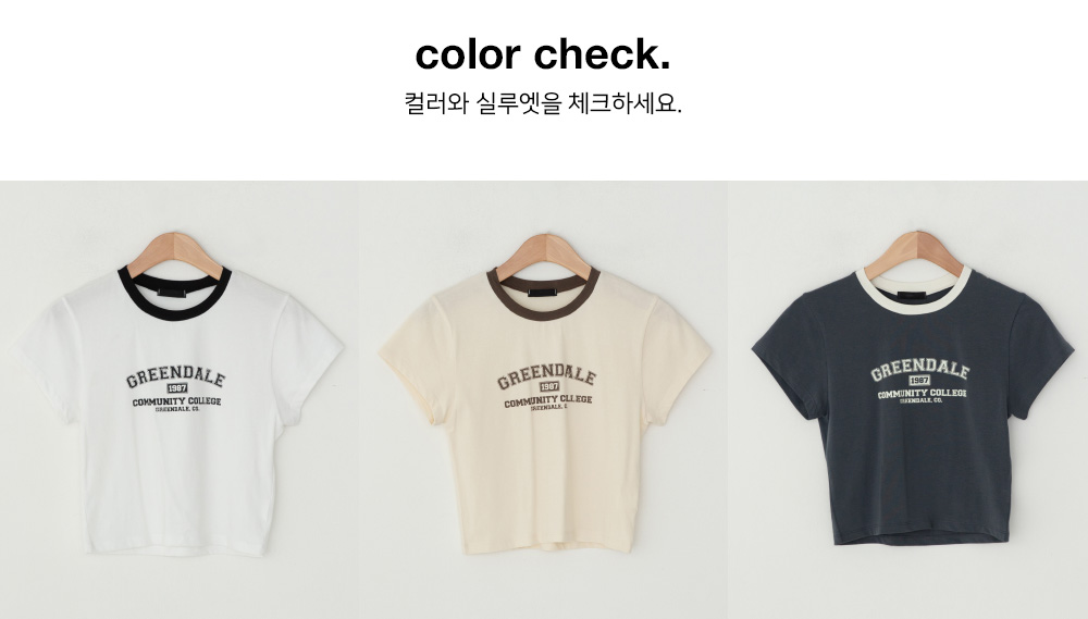 Latsu Color Matching Lettering Crop Tee
