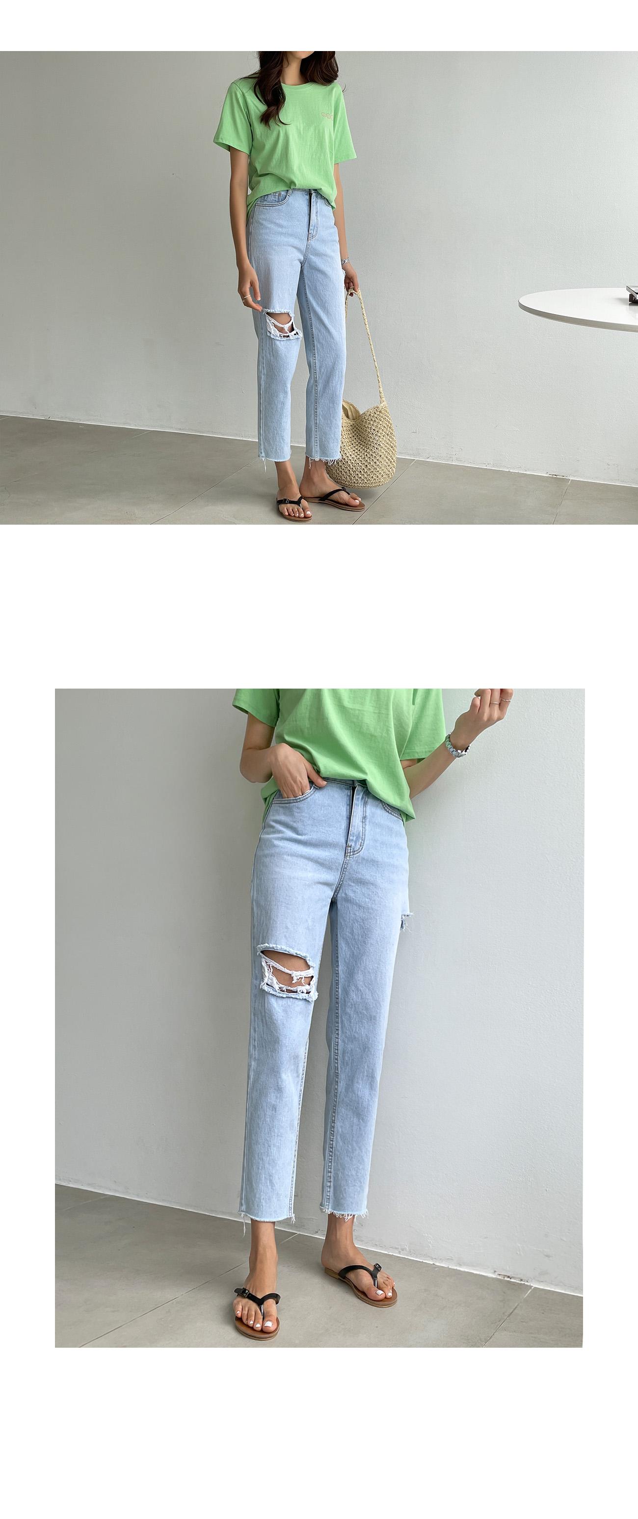 Damage soft Light Blue straight fit jeans #79190