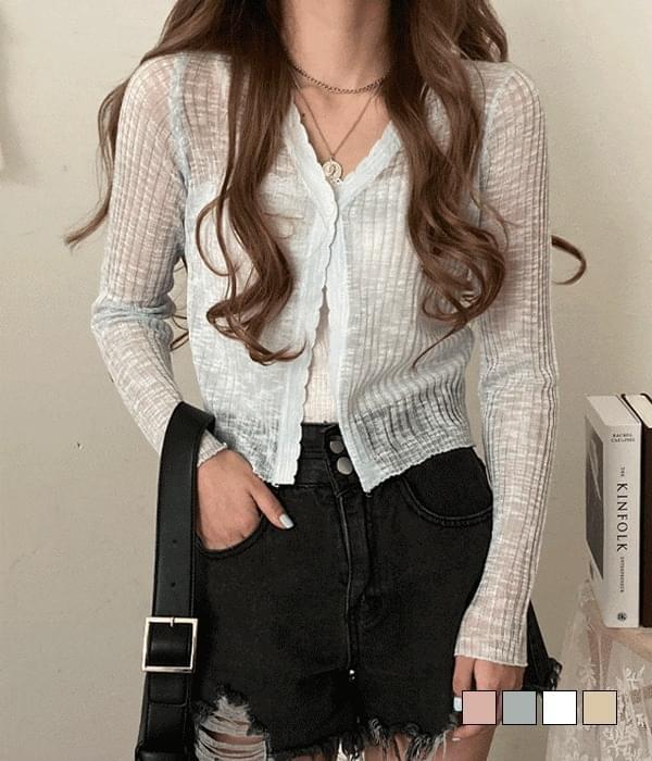 Ribbed cardigan worn immediately looks slender flops