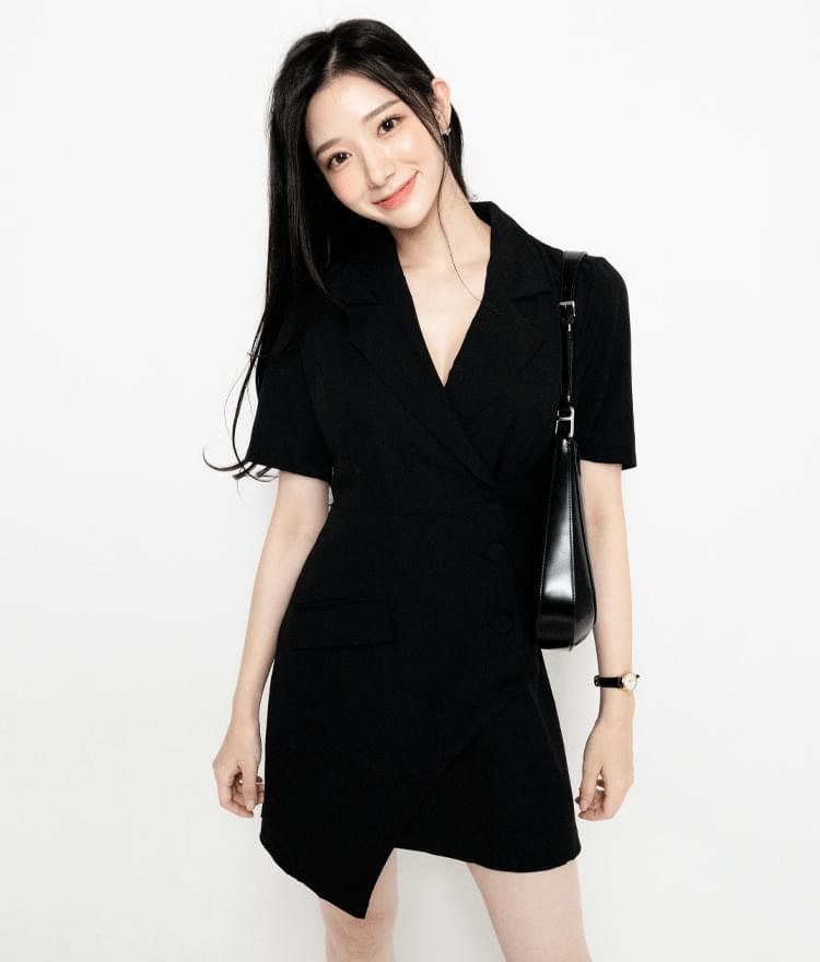 Asymmetrical Hem Jacket Dress