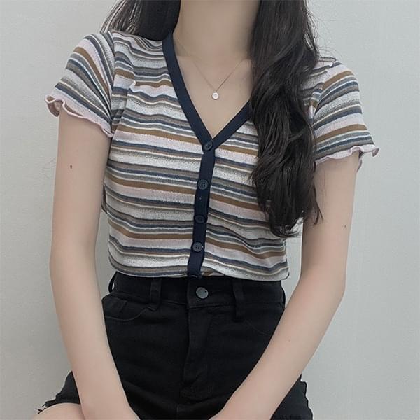 Lulu, striped V-Neck short-sleeved cardigan