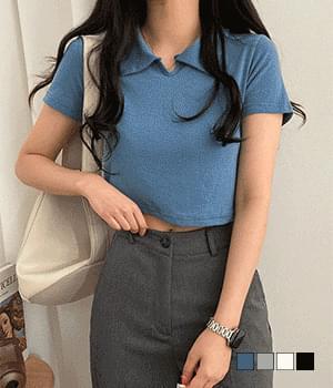 baum collar cropped T-shirt