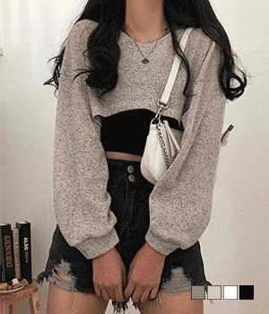 Pont Latte Bolero Style Cropped Knitwear T-shirt