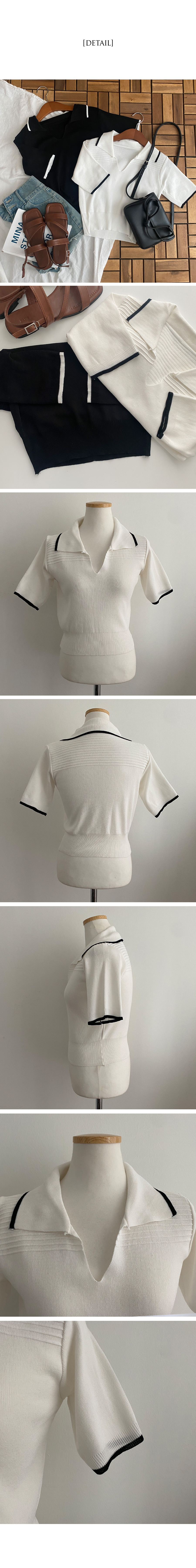 Drink Line Collar Short Sleeve Knitwear